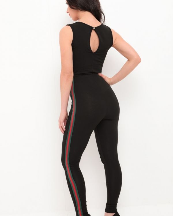 Lydia Red & Green Stripe Jumpsuit In Black