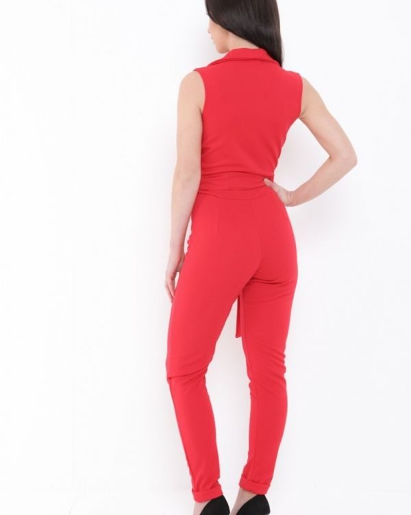 Atia Tux Style Jumpsuit In Red