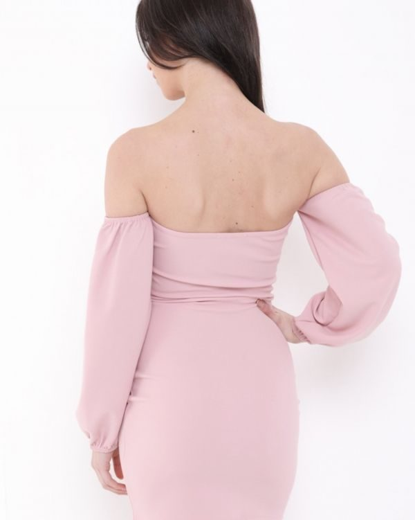 Presley Off Shoulder Keyhole Dress In Rose