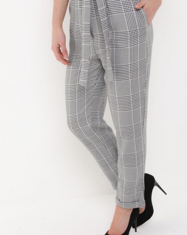 Everley Mono Check Tailored Trousers in Grey