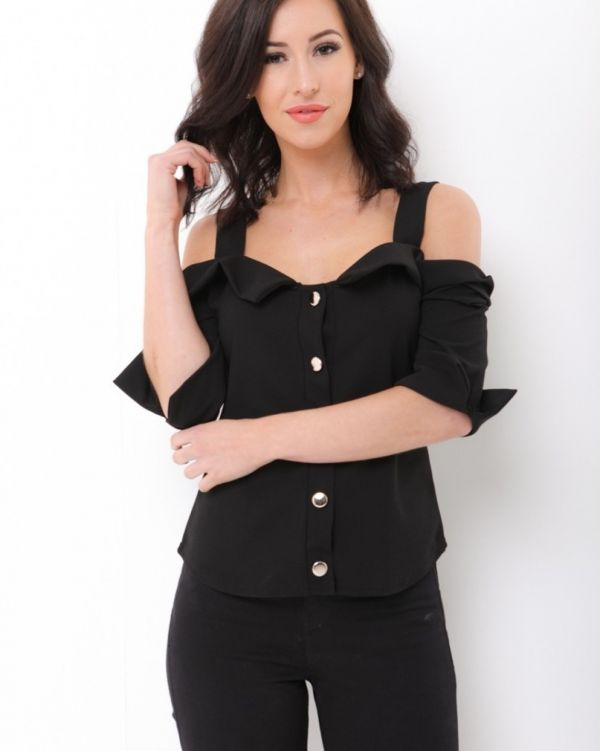 Iris Cold Shoulder Button Up Strappy Top In Black