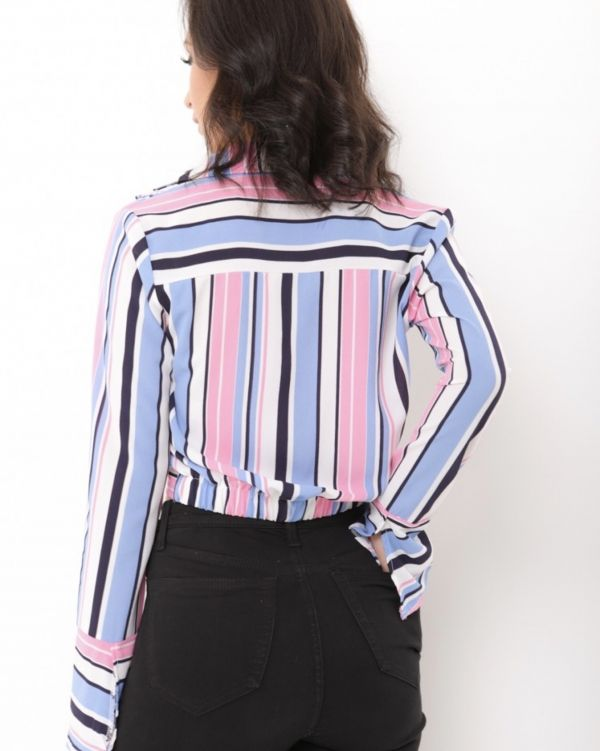 Destiny Twist Front Multi Stripe Crop Top in Blue