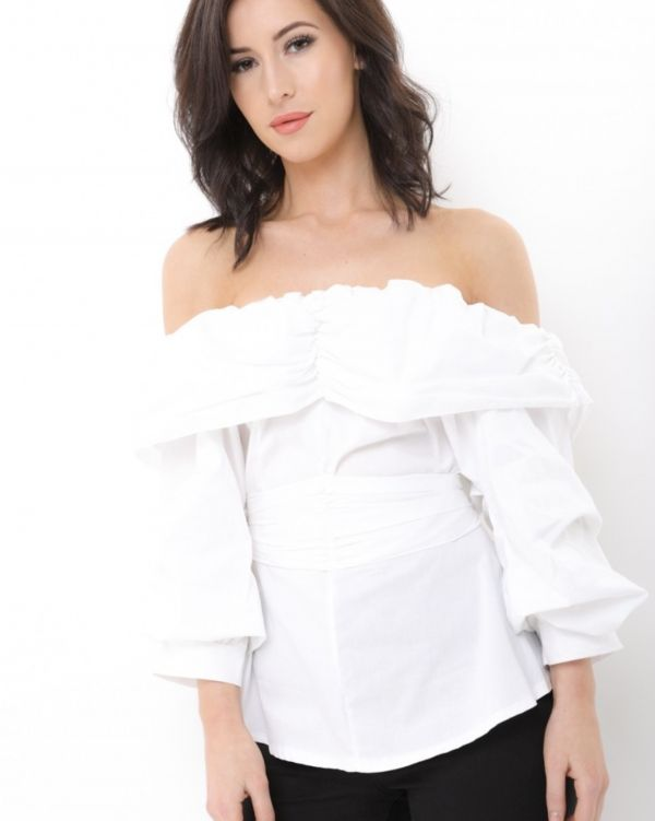 Raelynn Tie Knot  Ruffle Bardot Top In White