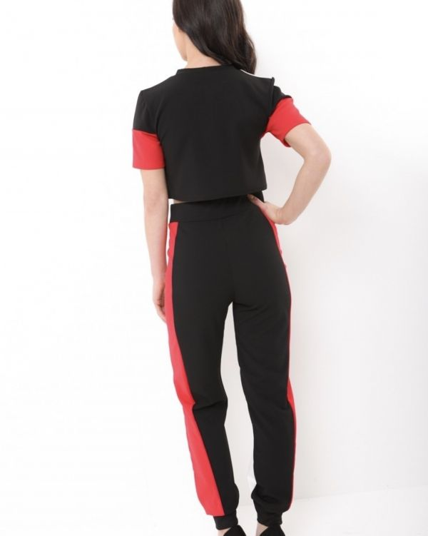 Harmony Striped Colour Block Co Ord In Black & Red