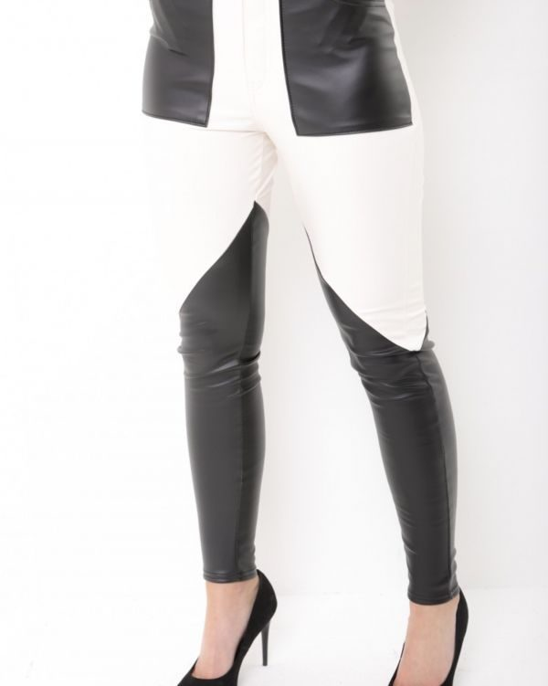 ** Louise Thompson** Cecilia Faux Leather Colour Block Trousers In Black & Nude