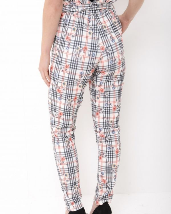 Destiny Floral Check Paper Bag Trouser In Stone