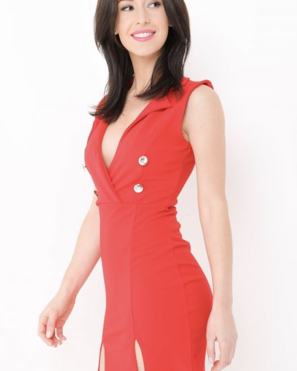 Daniela Blazer Dress In Red