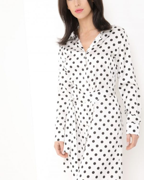 Ruby Satin Polka Dot Shirt Dress In White