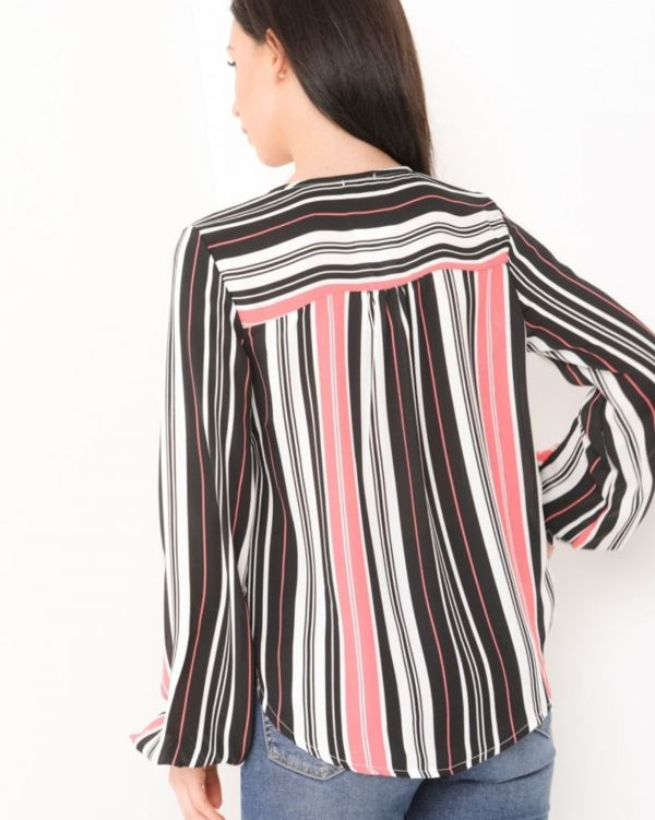 Mabel Striped Dip Hem Wrap Front Top In Coral