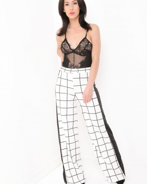 Juniper Wide Leg Grid Check Trousers In White