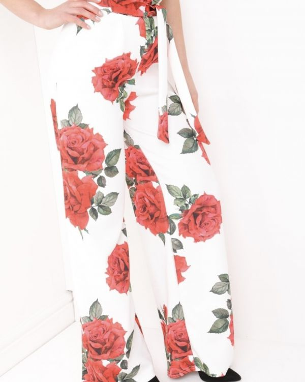 Aniya Rose Wide Leg Trousers In White