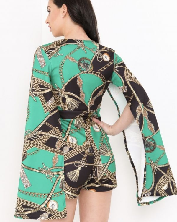 Lainey Rope Print Split Sleeve Romper In Green