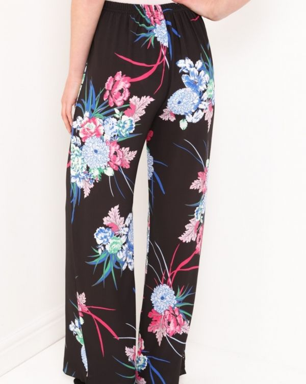 Serenity Floral Wide Leg Trousers In Black