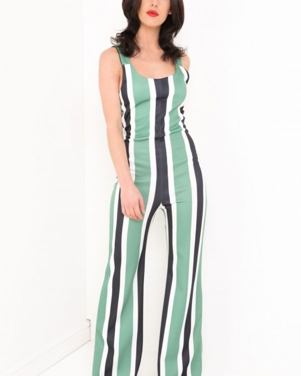 Karina Wide Leg Striped Jumpsuit In Green