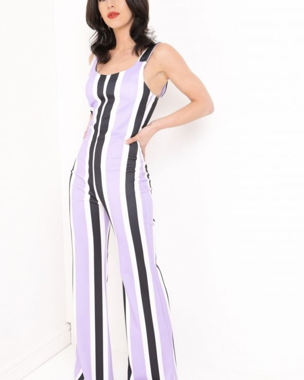 **Olivia Buckland** Karina Wide Leg Striped Jumpsuit In Lilac