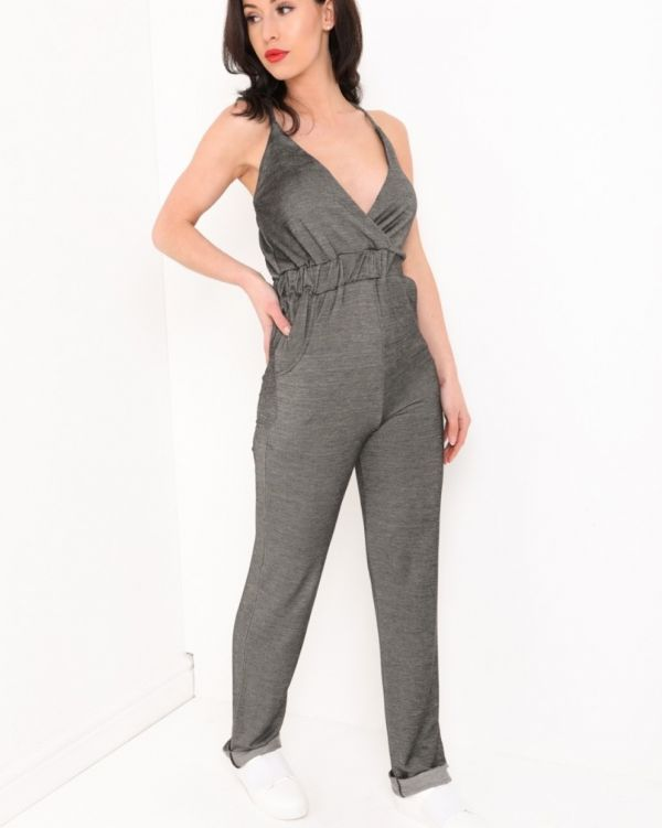 Mila Denim Look Cami Jumpsuit In Grey