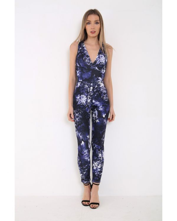 Oana Cross Back Spring Floral Jumpsuit In Purple