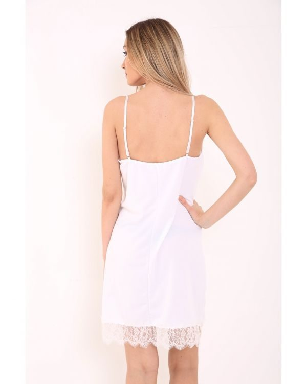 Daisy Eyelash Lace Trim Cami Dress In White