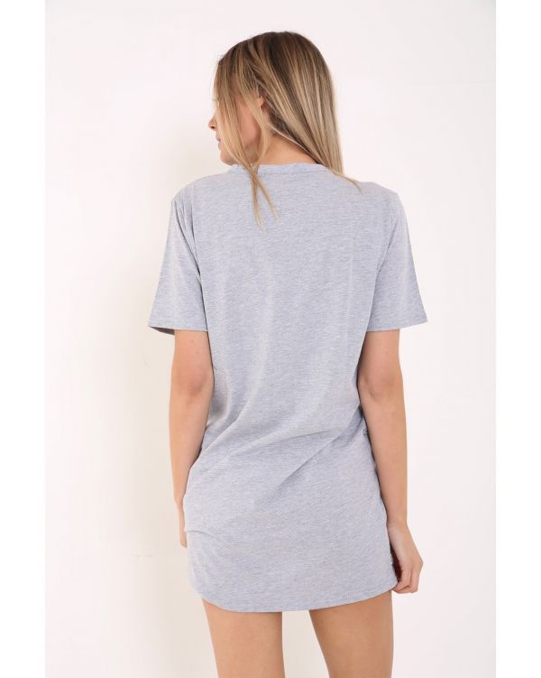 Caitlyn Live N Love Eagle Longline T-Shirt Dress In Grey