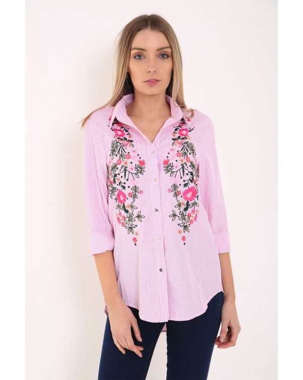 Imogen Striped Floral Embroidered Shirt In Pink