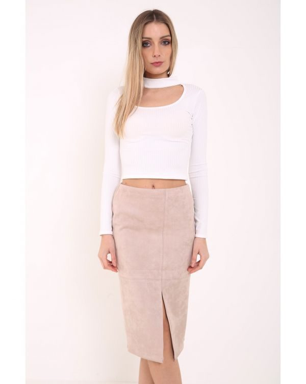 Rio Suedette Pencil Skirt In Nude