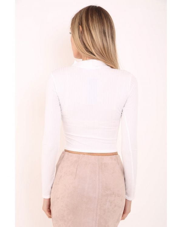 Kaprice Ribbed Choker Neck Long Sleeve Top In Cream