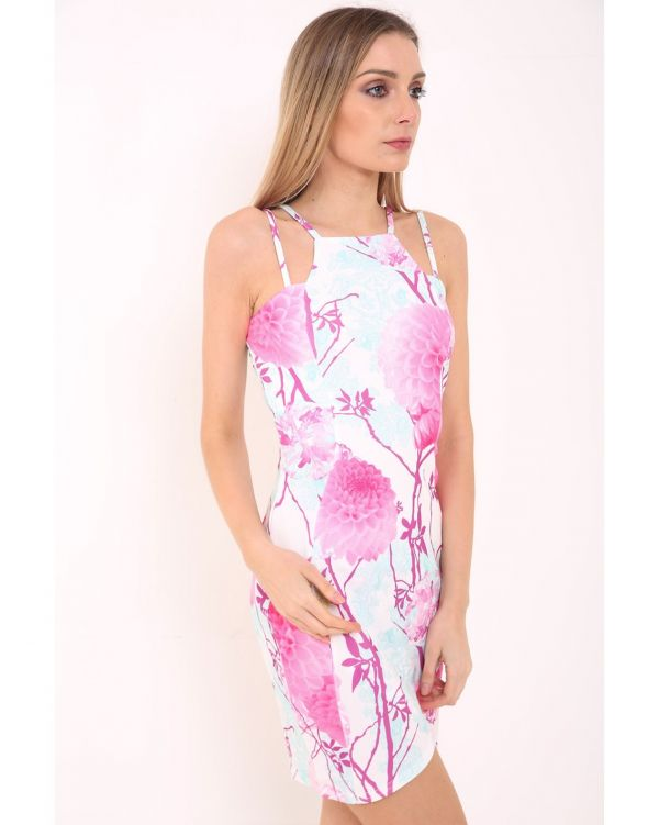 Amanda Double Strap Wrap Over Floral Bodycon Dress In Pink