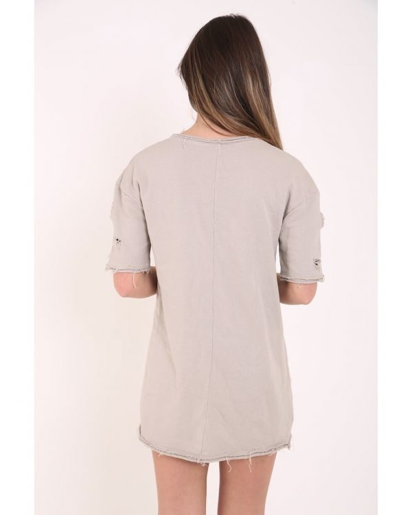 Vanessa Short Sleeved Distressed Jumper Top In Stone
