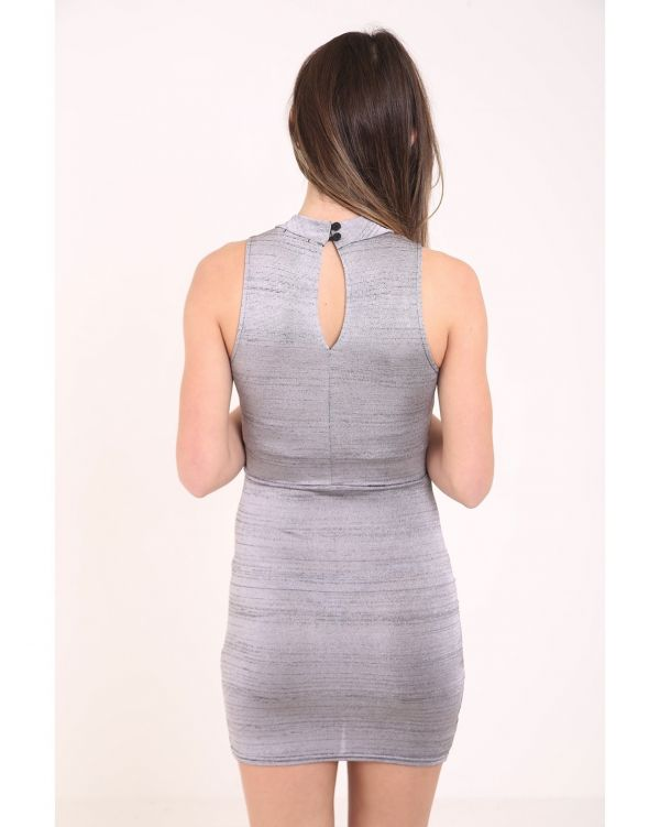 Sandra Space Dye Woven Knit Wrap Over Dress In Grey