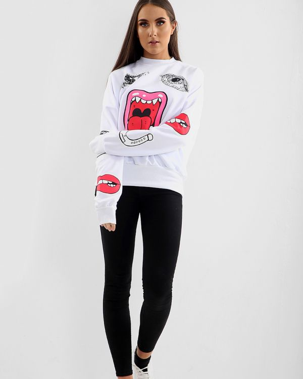 Kami Monster Printed Oversized Sweatshirt Jumper In White