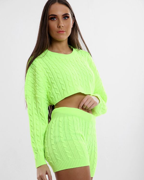 Samiah Cable Knit Crop Top & Shorts Co-ord In Neon Green