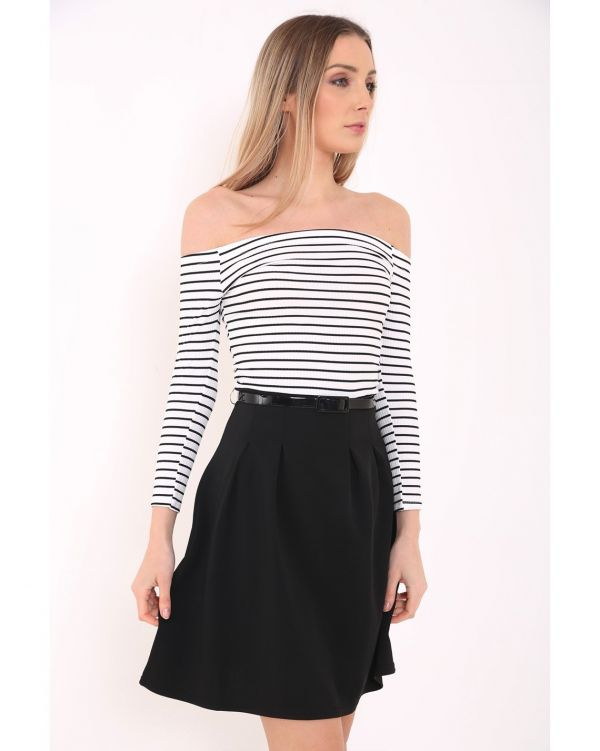 Ariella Stripe Ribbed Bardot Belted Dress In Monochrome