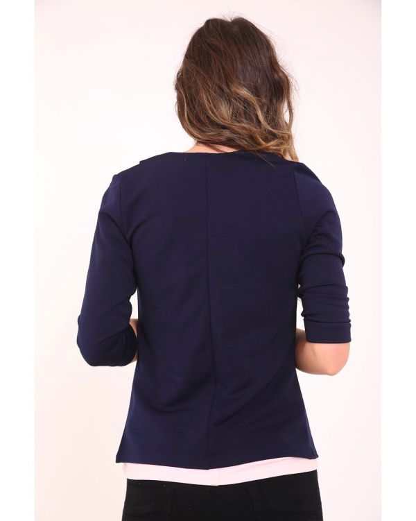 Mollie 3/4 Sleeve Length Open Blazer In Navy