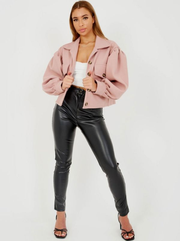 Amber Balloon Sleeve Thick Cropped Jacket In Pink
