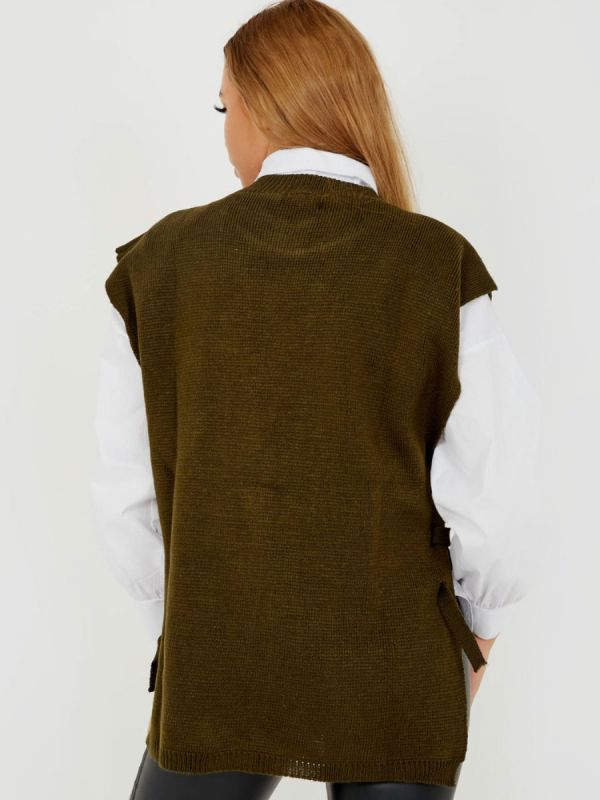 Kathrine Tie Side Crew Neck Knitted Vest In Khaki
