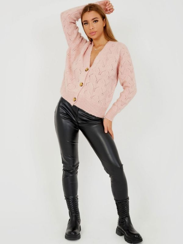 Isobell Soft Knit Button Front Cardigan In Pink