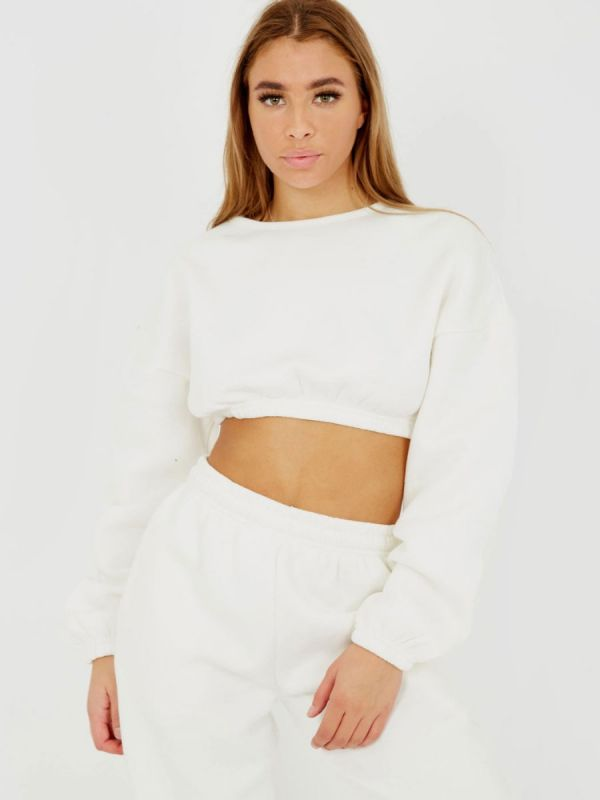 Skye Oversized Fleeced Crop Top & Jogger Co-ord In Cream