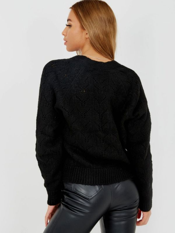 Isobell Soft Knit Button Front Cardigan In Black