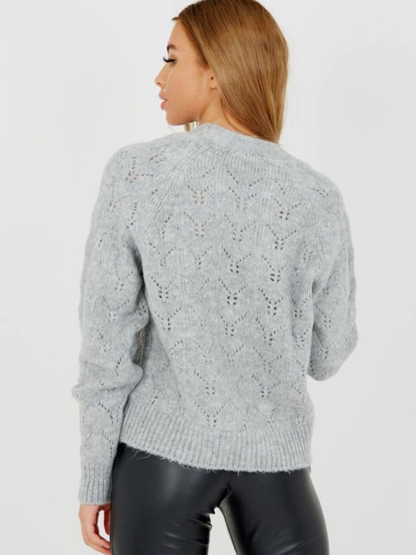 Isobell Soft Knit Button Front Cardigan In Grey