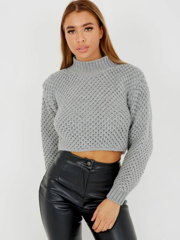 Maisee Bubble Knit High Neck Cropped Jumper In Grey