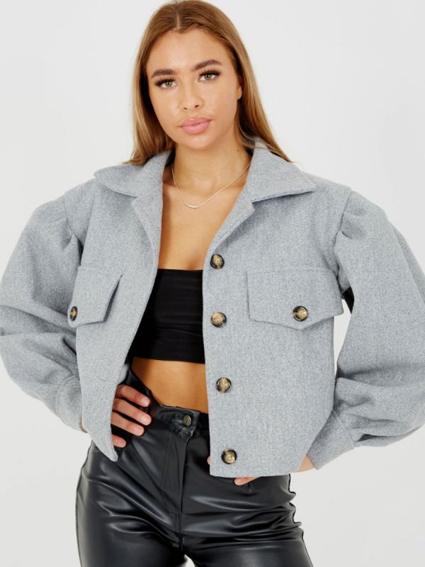 Amber Balloon Sleeve Thick Cropped Jacket In Grey