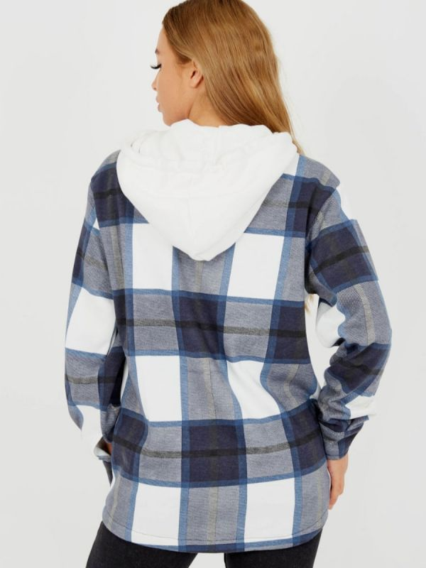 Lisa Thick Checked Shacket With Zip & Hood In Navy