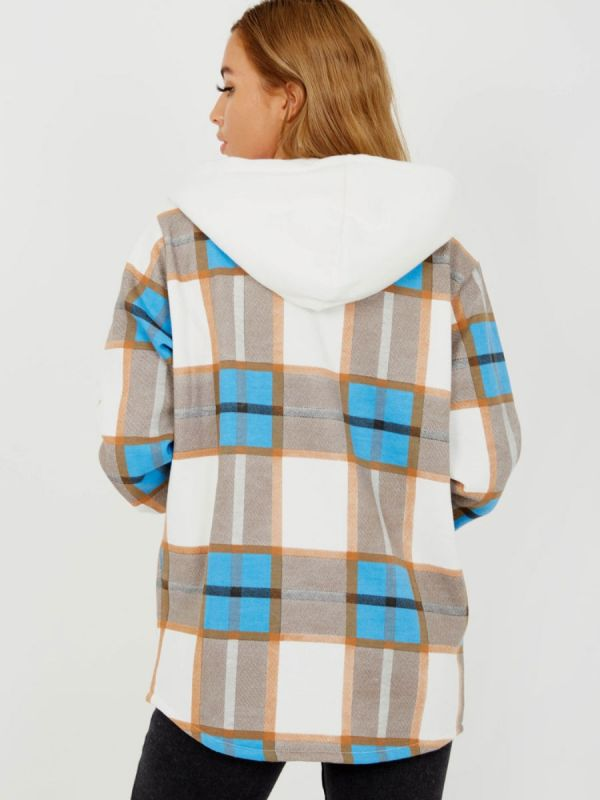 Lisa Thick Checked Shacket With Zip & Hood In Blue