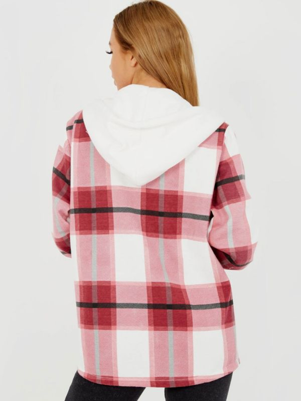 Lisa Thick Checked Shacket With Zip & Hood In Wine