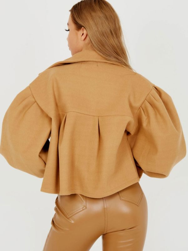 Amber Balloon Sleeve Thick Cropped Jacket In Camel