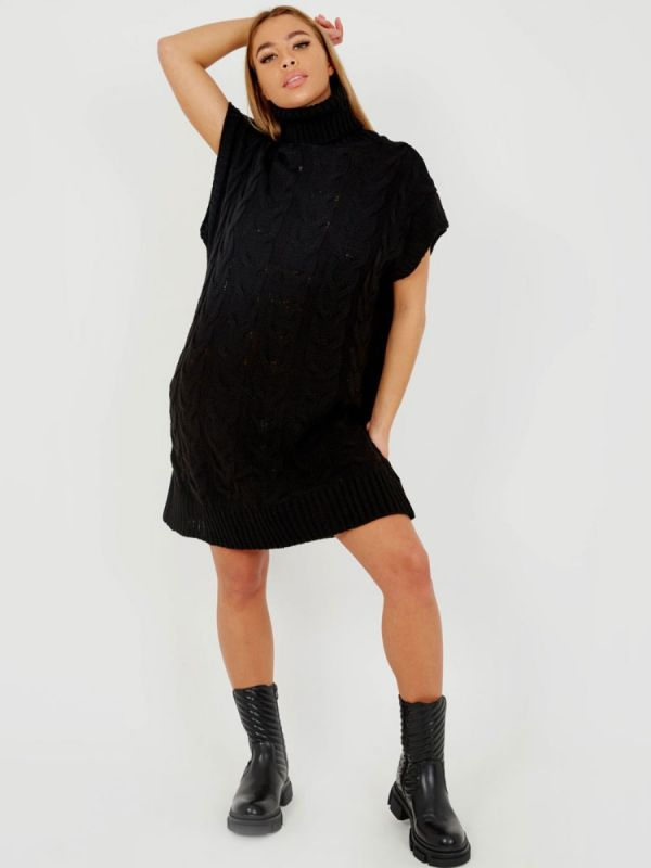 Annya Oversized Roll Neck Cable Knit Dress In Black
