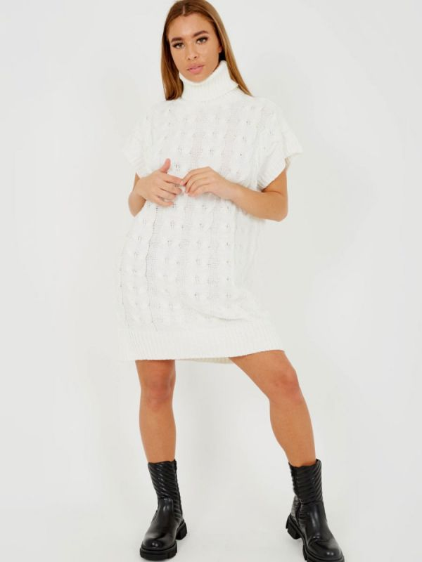 Annya Oversized Roll Neck Cable Knit Dress In Cream