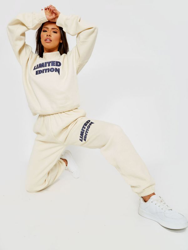 Nikki Embroidered Limited Edition Fleece Co-ord In Cream