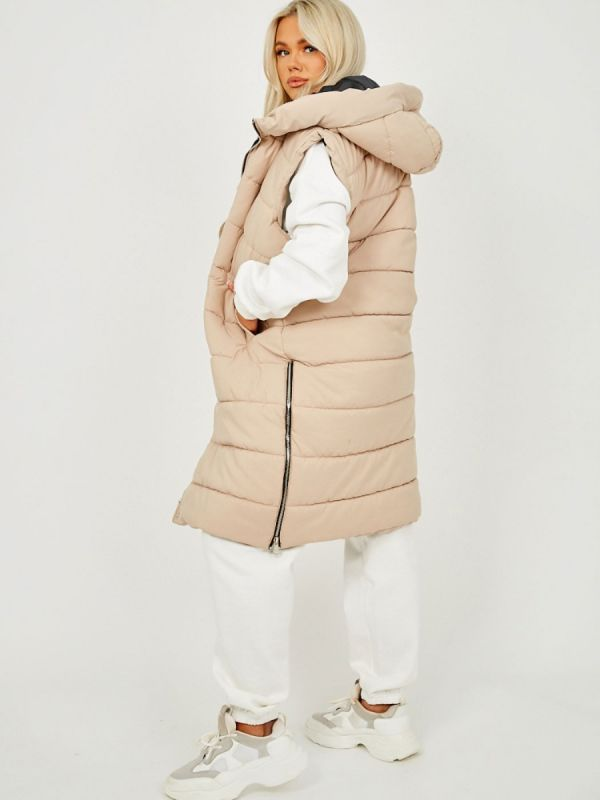 Michele Longline Hooded Puffer Gilet In Stone