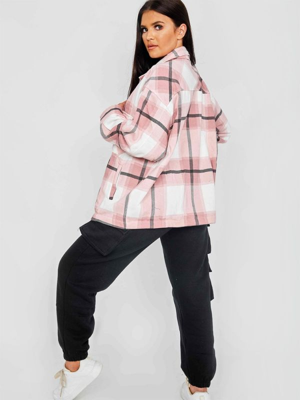 Colette Classic Thick Colour Block Shacket In Pink